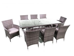 Kensington 8 Seat Rectangle Rattan Dining Set With Dining Chairs 2016 Range