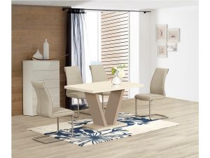 Zara Cream High Gloss Top Small Dining Table and 4 Zayno Taupe Chairs