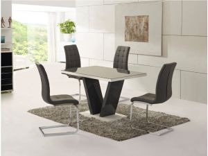 Zara Grey High Gloss Top Small Dining Table and 4 Enzo White Leather Chairs