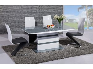Arctic Grey and White High Gloss Fixed Top Dining Table and 4 Leona Z Chairs