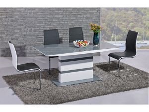 Arctic Grey and White High Gloss Fixed Top Dining Table and 6 Encore Black Chairs