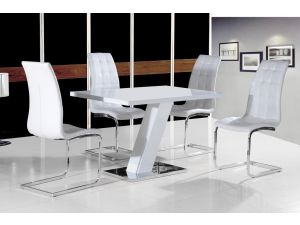 Aliyah White and Chrome High Gloss Dining Table