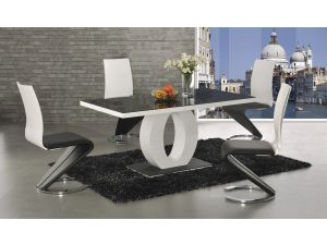 Halo Black Glass and White High Gloss Dining Table