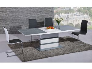 Arctic Grey and White High Gloss Extending Dining Table