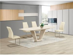 Lorgato Cream High Gloss Extending Dining Table and 6 Zayno Cream Chairs