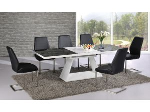 Italia Black and White Extending Dining Table With 6 Mariya White Chairs