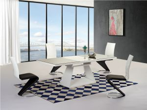 Italia Black and White High Gloss Ext. Dining Table with 6 Leona Z Chairs