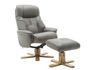 Dubai Grey Leather Swivel Recliner With Footstool