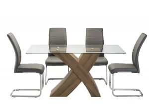 Eaton Oak Glass X Frame 150cm Rectangular Dining Table With 4 Soho Grey Leather Dining Chairs