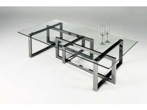 Chelsom Mondrian Rectangular Black Platinum Clear Glass Coffee Table
