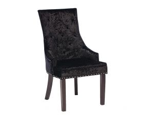 Eden Knockerback Black Velvet Dining Chair