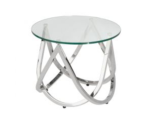 Chelsom Crescent Circular Tempered Glass Lamp Table