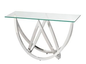 Chelsom Crescent Tempered Glass Glass Console Table