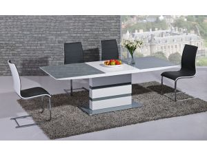 Arctic Grey and White High Gloss Extending Dining Table and 4 Encore Black Chairs