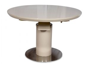 Fairmont Romeo High Gloss Round Ext Dining Table Cream - 120-160cm
