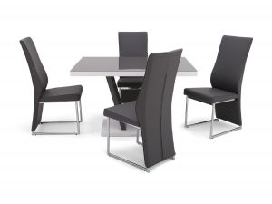 Fairmont Valentino Grey High Gloss Dining Table + 4 Remo Chairs