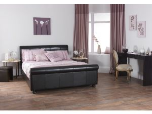 Serene Ferrara 4ft6 Double Brown Faux Leather Bed Frame