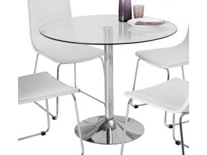 Orbit 90cm Clear Glass Round Dining Table