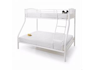 Serene Oslo Three Sleeper 4ft6 Double White Gloss Metal Bunk Bed