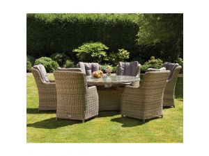 Royalcraft Wentworth 6 Seat Oval Rattan Dining Table with Highback Comfort Chairs