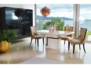 Filippo 160cm Cream Marble Dining table + Alfredo Chairs