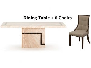 Filippo 180cm Cream Marble Dining table + Alfredo Chairs