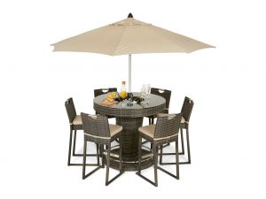 Maze Brown Rattan 6 Seater Bar Set With Ice Bucket