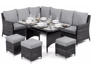 Maze Venice Grey Rattan Corner Sofa Dining Set With Ice Bucket And Rising Table