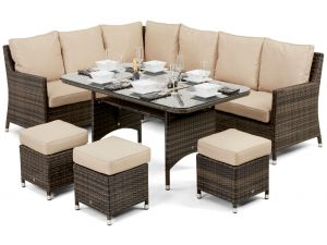 Maze Venice Brown Rattan Corner Sofa Dining Set With Ice Bucket
