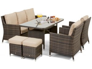 Maze LA Brown Rattan Sofa Dining Set With Ice Bucket