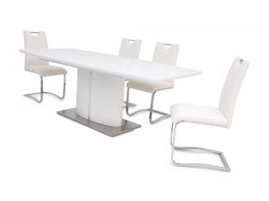 Fairmont Flavio Ext White High Gloss Dining Table + 6 Gabi Chairs