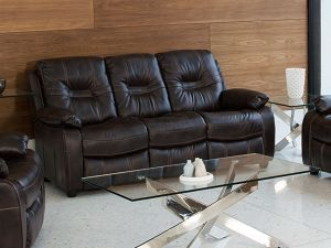 Kennedy 3 Seater Recliner Brown Leather Sofa