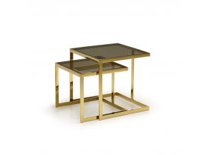 Alpha Gold Brown Glass Nest of Side Tables