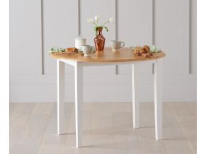 Genovia 60cm Oak and White Ext. Drop Leaf Dining Table