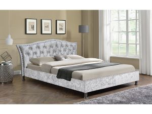 Georgetown 5ft Kingsize Silver Crushed Velvet Fabric Bed