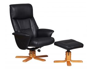 Marseille Black Leather Swivel Recliner Chair and Footstool