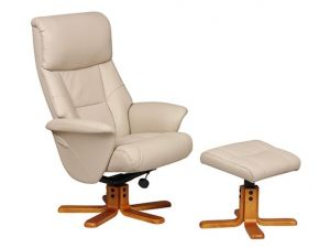 Marseille Cafe Latte Leather Swivel Recliner Chair and Footstool