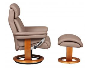 Portofino Earth Plush Leather Swivel Recliner Chair and Footstool