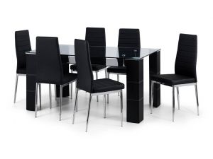 Julian Bowen Greenwich Glass Dining Table and 6 Dining Chairs