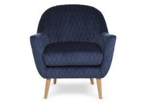 Serene Hamilton Blue Diamond Quilted Fabric Occaisional Chair
