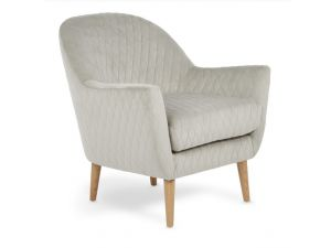 Serene Hamilton Silver Diamond Quilted Fabric Occaisional Chair