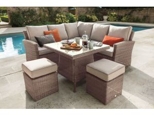 Hartman Kingsbury Square Corner Bark Rattan Casual Sofa Dining Set with Cover