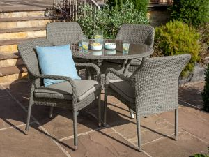 Hartman Savoy 105cm Round 4 Seater Grey Rattan Garden Set with Parasol and Base