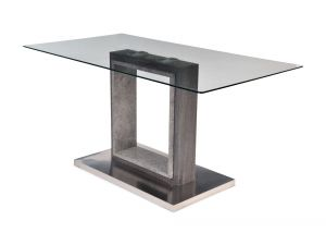 Fairmont Hilton Rectangle Glass Dining Table Grey - 150cm