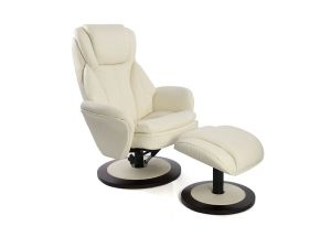 Fairmont Paris Deluxe Leather Swivel Recliner Chair with Footstool