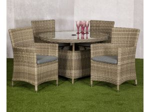 Royalcraft Wentworth Rattan 4 Seater Round Dining Set With Carver Chairs