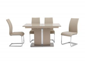Fairmont Flavio Ext Cream High Gloss Dining Table + 6 Paolo Chairs