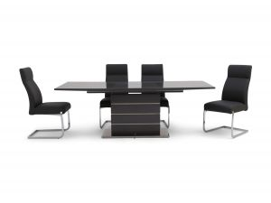 Fairmont Massimo Ext Grey High Gloss Dining Table + 6 Dante Chairs