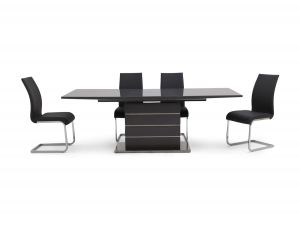 Fairmont Massimo Ext Grey High Gloss Dining Table + 6 Paolo Chairs