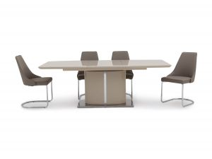 Fairmont Flavio Ext Cream High Gloss Dining Table + 6 Mya Chairs